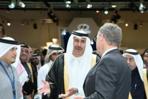Sheikh Hamad Bin Jassim Al-Than Discussing with Event Managers